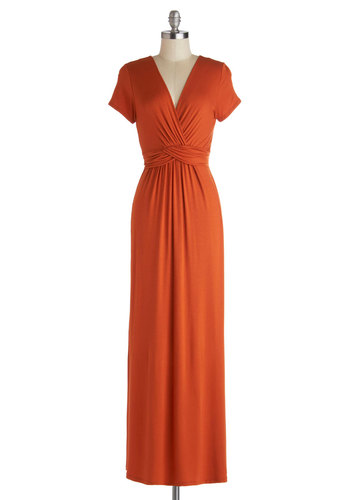 Sunset Free Dress - Jersey, Knit, Long, Orange, Solid, Ruching, Casual, Maxi, Short Sleeves, Good, V Neck, Basic, Fall, Beach/Resort, Top Rated