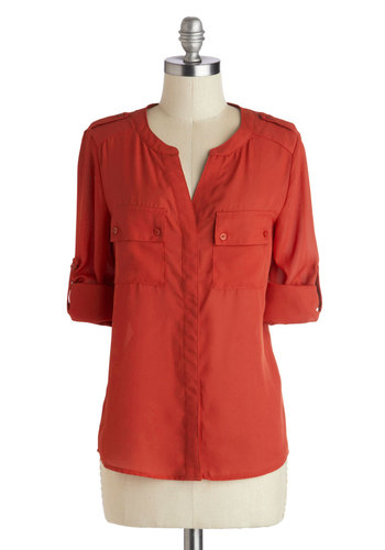 Jasper Gem Top - Mid-length, Chiffon, Sheer, Woven, Red, Solid, Buttons, Epaulets, Pockets, Casual, Short Sleeves, Military, Orange, Tab Sleeve