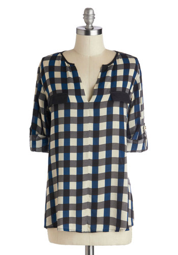 Sashay That Again Tunic - Mid-length, Sheer, Woven, Multi, Blue, Black, White, Plaid, Casual, 3/4 Sleeve, Pockets, Black, Tab Sleeve