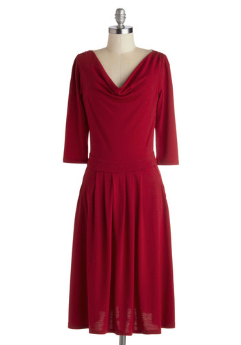 Countdown to Business Dress - Jersey, Knit, Long, Red, Solid, Pockets, Casual, A-line, 3/4 Sleeve, Good, Cowl, Work, Fall, Basic, Winter