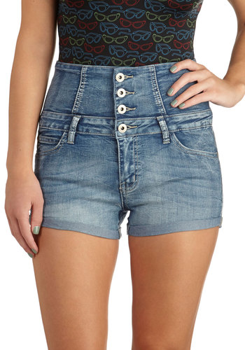 Water Park It Shorts - Blue, Solid, Pockets, Casual, High Waist, Buttons, Summer, Denim, Woven