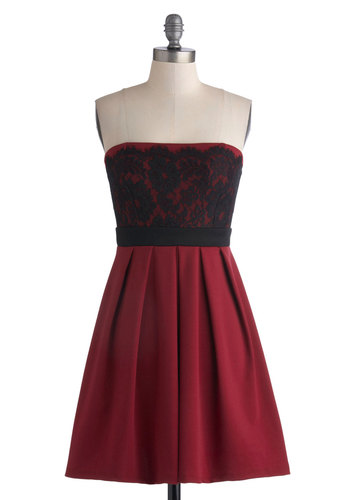 Obviously Adorable Dress in Burgundy - Red, Black, Lace, Pleats, Party, Strapless, Sweetheart, Knit, Mid-length, Empire, Good, Variation, Valentine's, Homecoming