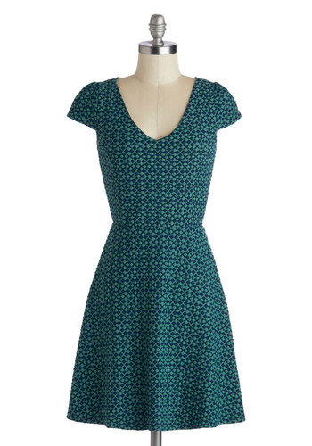 Teal the Moment Dress - Knit, Mid-length, Green, Blue, Print, Casual, A-line, Cap Sleeves, Good, V Neck