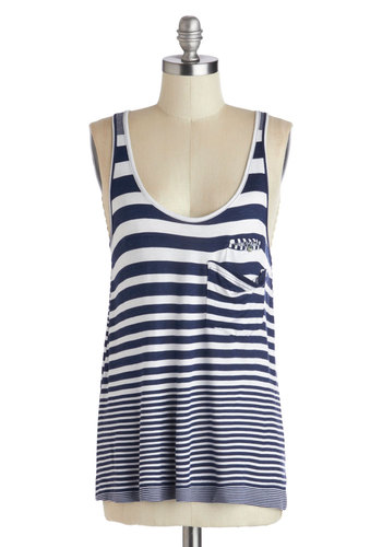 Across the Sky Tank - White, Blue, Stripes, Buttons, Pockets, Casual, Nautical, Racerback, Jersey, Knit, Mid-length, Blue, Sleeveless, Spring, Summer