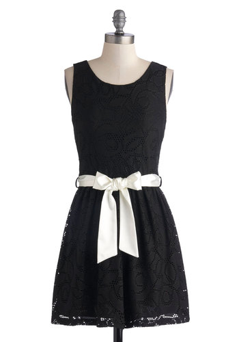 Film Noir Mystery Dress - Short, Sheer, Black, Backless, Belted, Casual, A-line, Sleeveless, Good, Scoop