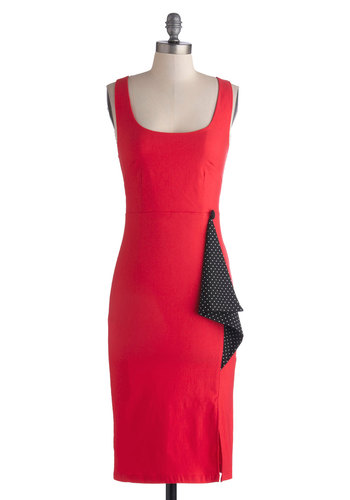 Samantha's Sassy Sophistication Dress - Long, Knit, Coral, Black, Party, Sheath / Shift, Tank top (2 thick straps), Better, Scoop, Girls Night Out