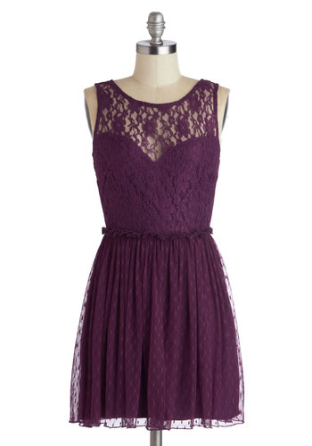 Plum Appetit Dress - Sheer, Knit, Purple, Solid, Lace, Party, A-line, Sleeveless, Better, Scoop, Special Occasion