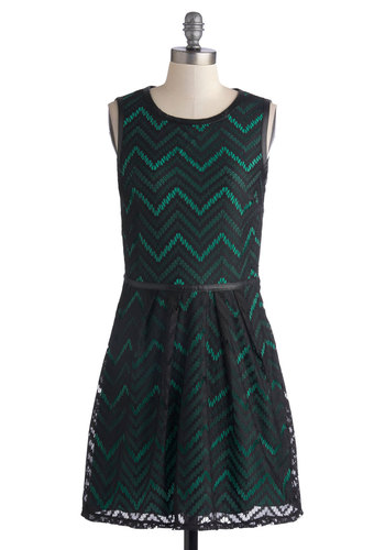 Teal Tide Dress - Faux Leather, Knit, Green, Black, Chevron, Lace, Belted, Party, A-line, Sleeveless, Good, Scoop