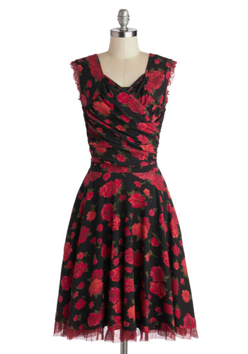 No Business Like Rose Business Dress by Effie's Heart - Floral, Long, Knit, Black, Multi, Pockets, Ruching, Party, A-line, Sleeveless, Better, Scoop, Formal, Cocktail, Valentine's