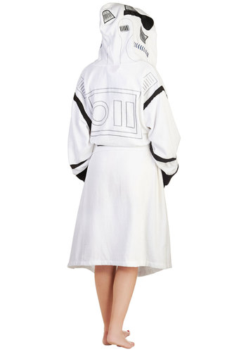 The Robe You're Looking For in Stormtrooper - White, Multi, Casual, Travel, Quirky, Hoodie, Long Sleeve, Cotton, Knit, Novelty Print, Pockets, Belted, Variation, Halloween