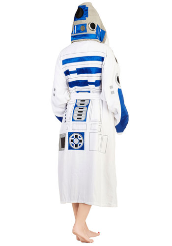 The Robe You're Looking For in R2D2 - White, Blue, Novelty Print, Casual, Travel, Quirky, Long Sleeve, Cotton, Pockets, Variation, Belted, Halloween