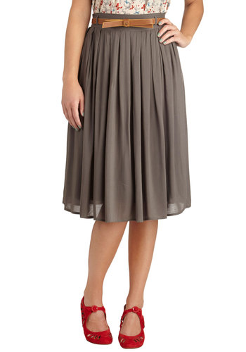 Porch Swing Dance Skirt in Grey - Grey, Solid, Bows, Pockets, Belted, Work, Woven, Long, Pleats, Ballerina / Tutu, Grey, Spring, Summer, Fall, Winter