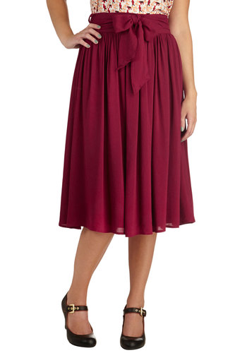 Tea and a Candle Skirt - Long, Red, Solid, Bows, Work, Winter, Basic, Fall, Red, Midi