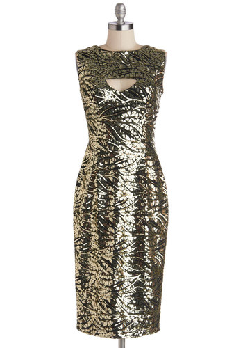 Fab Fatale Dress by Bettie Page - Gold, Black, Cutout, Sequins, Holiday Party, Sheath / Shift, Sleeveless, Cocktail, Better, Crew, Backless, Long, Woven