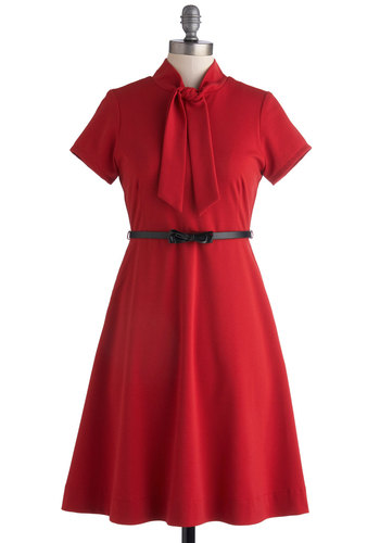 Classic Panache Dress by Myrtlewood - Red, Solid, Belted, Tie Neck, A-line, Short Sleeves, Better, Work, Vintage Inspired, Mid-length, Woven, Private Label, Exclusives, Gifts Sale