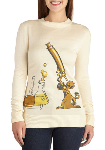 Science Rules! Sweater by Bea & Dot - Cream, Novelty Print, Casual, Long Sleeve, Exclusives, Mid-length, Knit, Private Label, White, Long Sleeve, Better