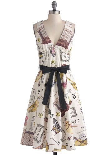 Heritage Collection Dress - Belted, A-line, Sleeveless, Better, V Neck, Cotton, Woven, Novelty Print, Daytime Party, Vintage Inspired, Work, Multi, Yellow, Brown, Black, White, Bird, Woodland Creature, Long