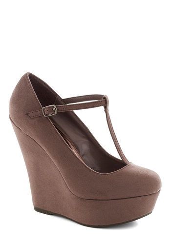 Take It from the Taupe Wedge - Tan, Solid, Party, Girls Night Out, Daytime Party, High, Good, Platform, Wedge, T-Strap