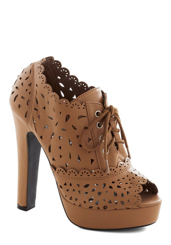 Kick It Up a Notch Heel - Tan, Solid, Cutout, Scallops, High, Good, Platform, Lace Up, Peep Toe, Faux Leather, Party, Girls Night Out