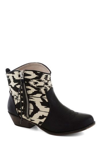 Again and a Grain Bootie - Black, White, Print, Low, Good, Faux Leather, Casual, Rustic, Fall