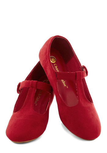 Doll Over Town Flat in Red - Red, Solid, Flat, Good, Casual, Faux Leather, Variation, T-Strap, 90s