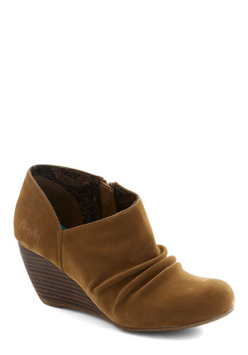 Clay It Up Bootie - Tan, Pleats, Mid, Wedge, Faux Leather, Good, Solid, Rustic, Fall