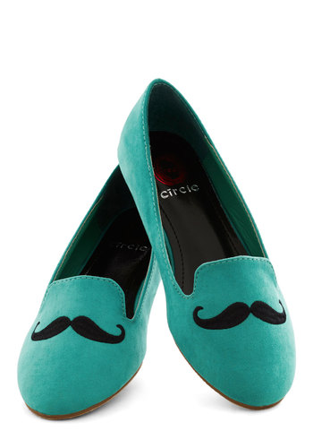 Mustachioed Pistachio Flat - Menswear Inspired, Flat, Faux Leather, Blue, Black, Novelty Print, Casual, Quirky