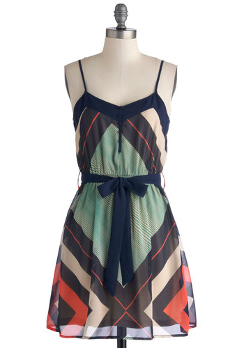 Sitting Courtside Dress - Chiffon, Short, Woven, Multi, Print, Buttons, Belted, Casual, A-line, Spaghetti Straps, Good, Summer, Sundress