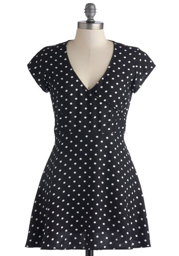 Make Today a Fairytale Dress by Motel - Knit, Short, Black, White, Polka Dots, Casual, A-line, Short Sleeves, Better, V Neck
