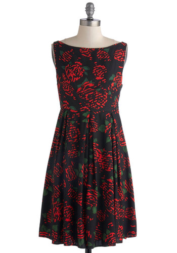 Surprise Lover Dress in Roses by Motel - Knit, Mid-length, Black, Red, Green, Floral, Pleats, Party, A-line, Sleeveless, Better, Boat, Variation, Work