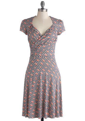 Kelly's Vivid in the Moment Dress in Birds - Long, Jersey, Knit, Blue, Orange, White, Print with Animals, Casual, A-line, Cap Sleeves, Better, V Neck, Wrap, Work