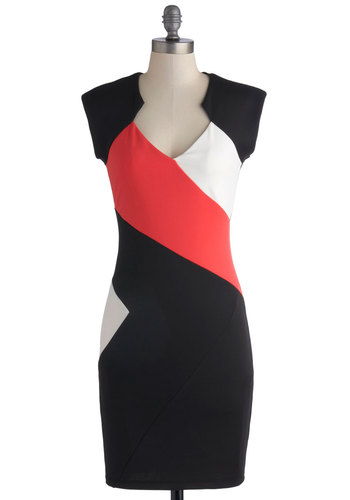 Tonight's for You Dress - Mid-length, Knit, Black, Pink, White, Party, Colorblocking, Bodycon / Bandage, Sleeveless, Good, Cocktail, Girls Night Out