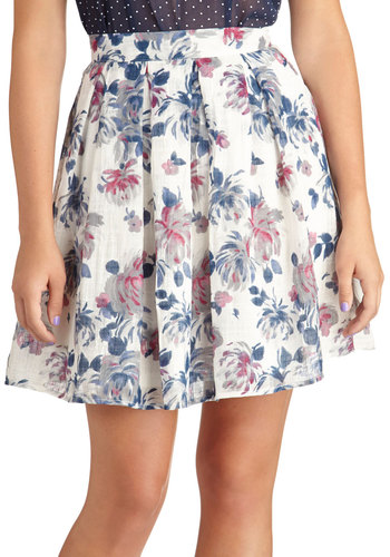 Opulent Bloom Skirt in Blue - Floral, Daytime Party, Woven, Mid-length, Pleats, Spring, Variation, White, Ballerina / Tutu, White