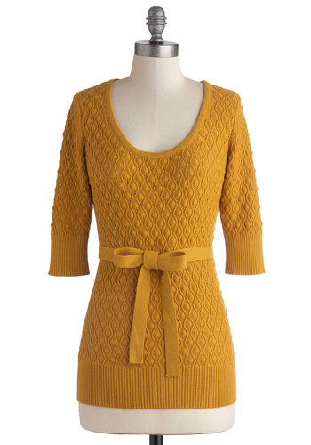 Honeycomb Sweet Home Sweater by Effie's Heart - Yellow, Belted, Casual, 3/4 Sleeve, Sheer, Knit, Solid, Work, Pinup, Vintage Inspired, 40s, 50s, Scoop, Fall