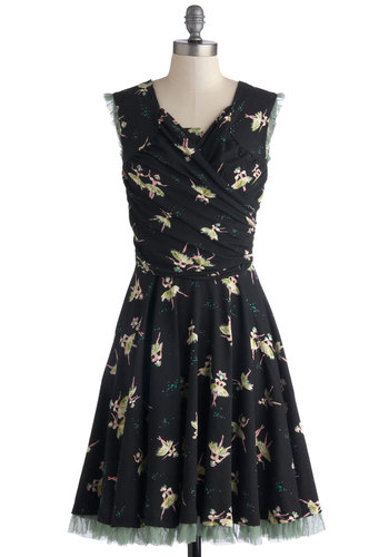 Tendu You Dance? Dress by Effie's Heart - Cotton, Knit, Mid-length, Black, Multi, Novelty Print, Pockets, Ruching, Party, A-line, Sleeveless, Better, Scoop