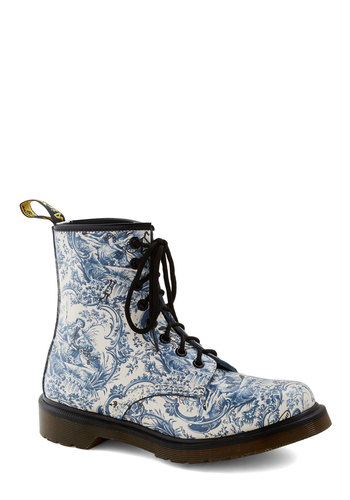 My So-Toile Life Boot by Dr. Martens - Blue, Print, Leather, Low, Best, Black, White, Casual, Vintage Inspired, 90s, Lace Up, Quirky, Statement