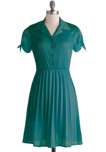 Give a Little Glisten Dress in Teal by Myrtlewood - Knit, Mid-length, Blue, Solid, Buttons, Pleats, Casual, Shirt Dress, Short Sleeves, Fall, Good, Collared, Vintage Inspired, 40s, 50s, Exclusives, Variation, Private Label