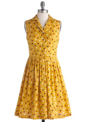 You're In Luck Dress - Cotton, Woven, Yellow, Multi, Print with Animals, Buttons, Pleats, Casual, Shirt Dress, Sleeveless, Summer, Better, Collared, Polka Dots, Vintage Inspired, 50s, Exclusives, Mid-length, Private Label