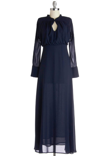 RTV- No Reps: You All Along Dress by Myrtlewood - Blue, Solid, Cutout, Maxi, Long Sleeve, Winter, Good, Formal, Wedding, Party, Exclusives, Private Label, Long, Chiffon, Sheer, Woven