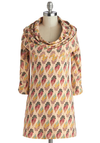 Color Me Surprised Tunic by Effie's Heart - Multi, Red, Yellow, Green, Print, Casual, 3/4 Sleeve, Cowl, Long, Cotton, Knit, Tan / Cream, Pockets, Fall