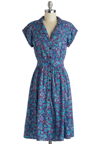 Waltz on a Whim Dress in Paisley by Motel - Woven, Long, Blue, Purple, Paisley, Buttons, Casual, Shirt Dress, Short Sleeves, Better, Collared, Vintage Inspired, 40s, 50s