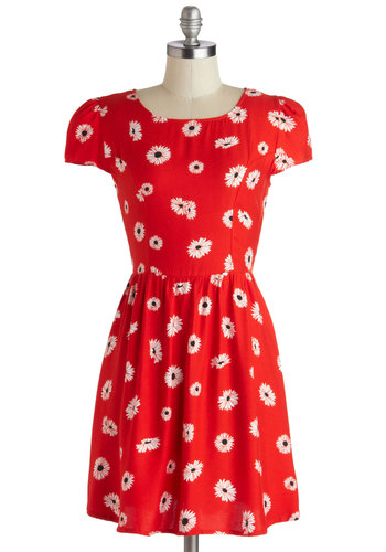 And Jenn There Was Fun Dress by Motel - Short, Woven, Red, Black, White, Floral, Casual, A-line, Cap Sleeves, Better, Scoop, Vintage Inspired, 90s, Statement