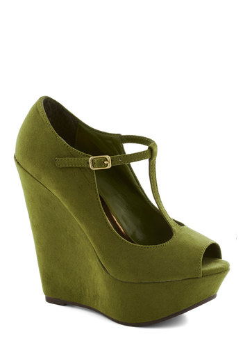 It Malt Be Love Wedge in Kale - Green, Solid, Party, Girls Night Out, High, Good, Platform, Wedge, Faux Leather, Vintage Inspired, 90s, Peep Toe, Variation, T-Strap, Holiday Party