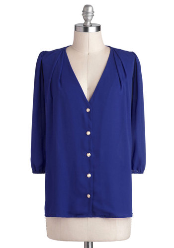 Moxie Lady Top in Royal Blue - Blue, Solid, Buttons, 3/4 Sleeve, Sheer, Mid-length, Chiffon, Work, Woven, Variation, Blue, 3/4 Sleeve