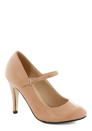 Patent Office Heel in Blush - Tan, Solid, Wedding, Work, Graduation, Bridesmaid, High, Good, Party, Cocktail, Bride, Faux Leather, Mary Jane, Variation, Basic