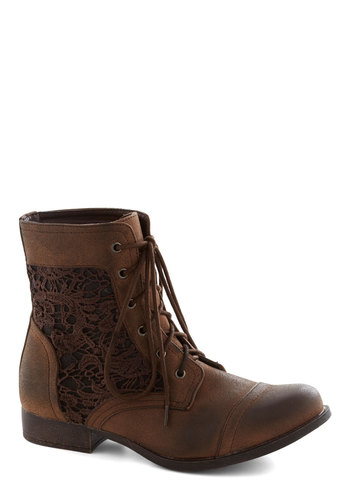 Walk on the Wildflower Side Boot - Brown, Solid, Lace Up, Good, Crochet, Casual, Menswear Inspired, Rustic, Low, Faux Leather