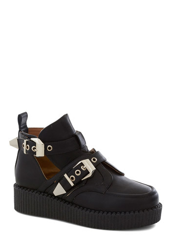 Underground Groovin' Bootie - Black, Solid, Buckles, Cutout, Statement, Low, Good, Platform, Wedge, 90s, Fall