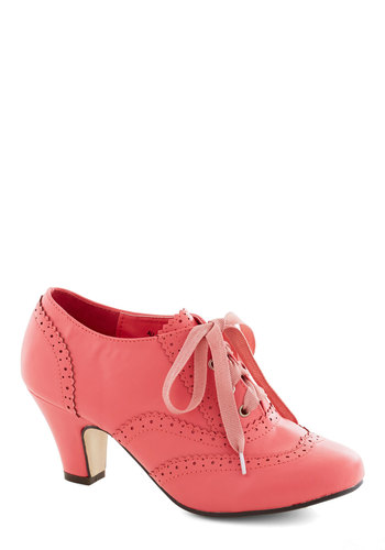 Dance Instead of Walking Heel in Pink - Solid, Vintage Inspired, 20s, 30s, Mid, Lace Up, Good, Pink, Party, Daytime Party, Faux Leather, Variation, Wedding, Exclusives, 60s, Top Rated