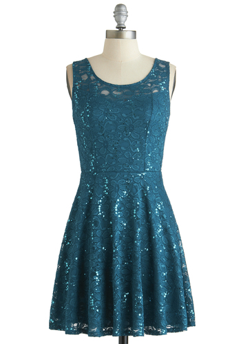 Just Dazzle Me Dress - Blue, Solid, Sequins, Party, A-line, Tank top (2 thick straps), Scoop, Exclusives, Mid-length, Knit, Holiday Party, Lace