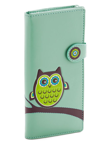 Fl-owl-er Power Wallet - Green, Blue, Multi, Brown, White, Print with Animals, Casual, Owls, Faux Leather, Mint, International Designer, Top Rated